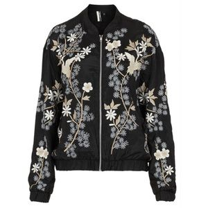 Topshop chinoiserie flower bomber jacket Size 0